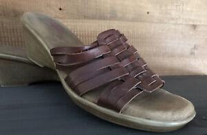 Connie Waverly Slide Wedge Sandals, Brown, Leather, Womens 8 1/2 8.5 Medium M
