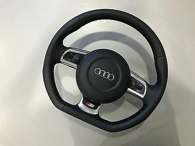 Audi TT R8 A3 A4 A5 A6 A8 S-LINE Flat Bottom Leather Steering Wheel 8J0419091H
