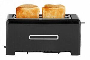 Toaster 4 Scheiben Langschlitz Edelstahl Brötchenaufsat