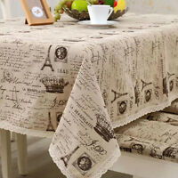 New Style Classical Eiffel Tower Cotton Linen Tablecloths Table Cloth Cover