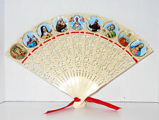 Vtg Hand Fan Celluloid Plastic Religious Picture Church St Theresa Madonna Jesus