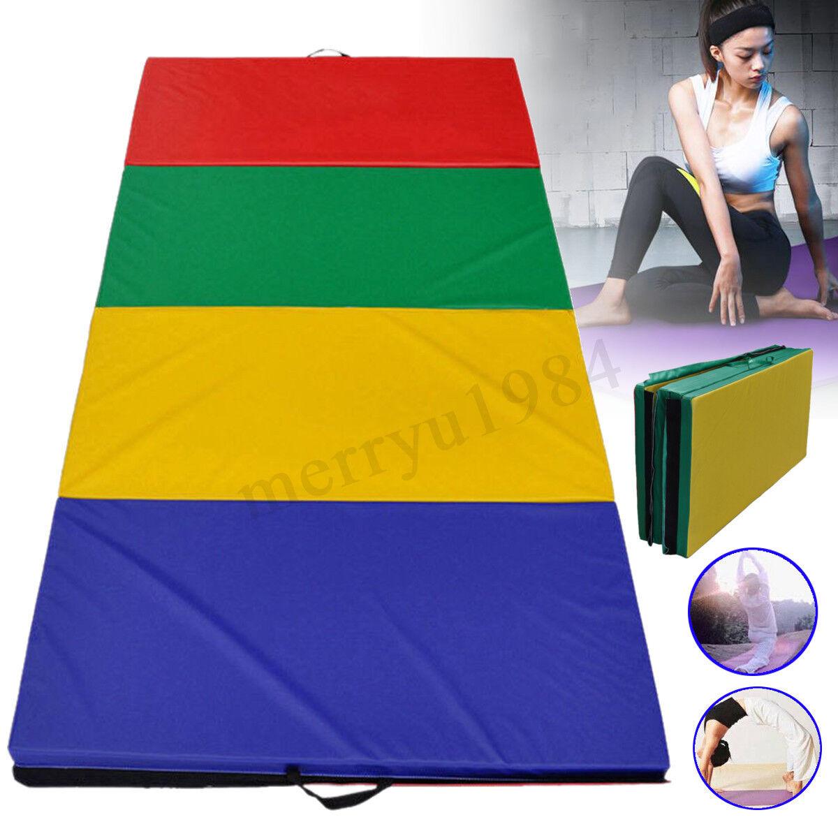 240x120x5cm Gymnastics Panel Folding Mat Gym Exercise Tumbling Fitness Pad UK