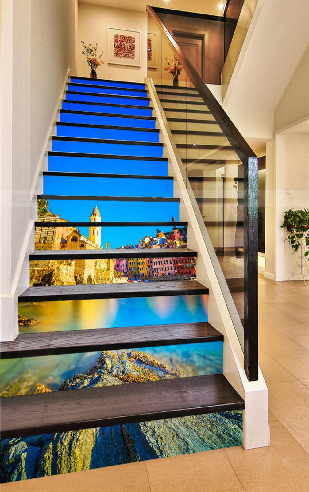 3D Stadt Meer 437 Stair Risers Dekoration Fototapete Vinyl Aufkleber Tapete DE