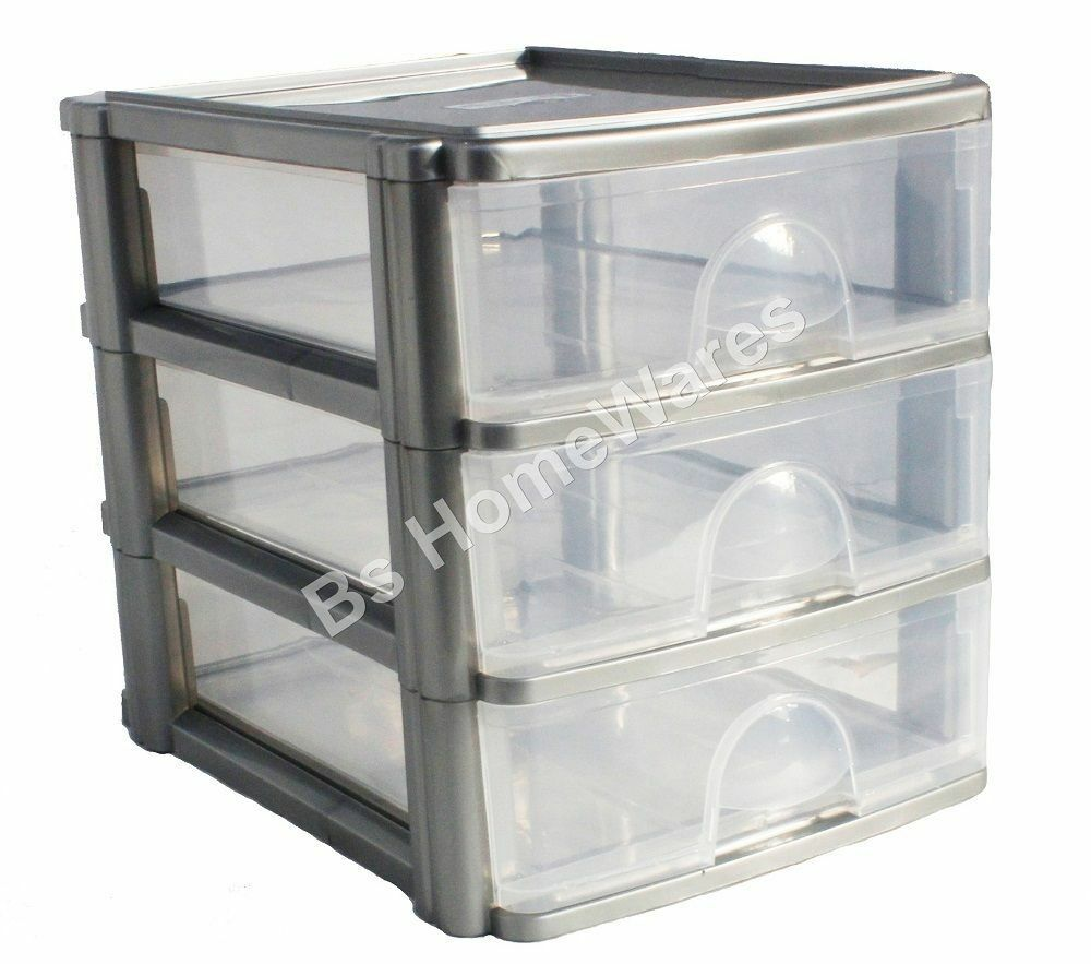 Galleries Plastic Shallow 3 Drawer Storage Unit Cabinet Office Bedroom Organizer Drawers
