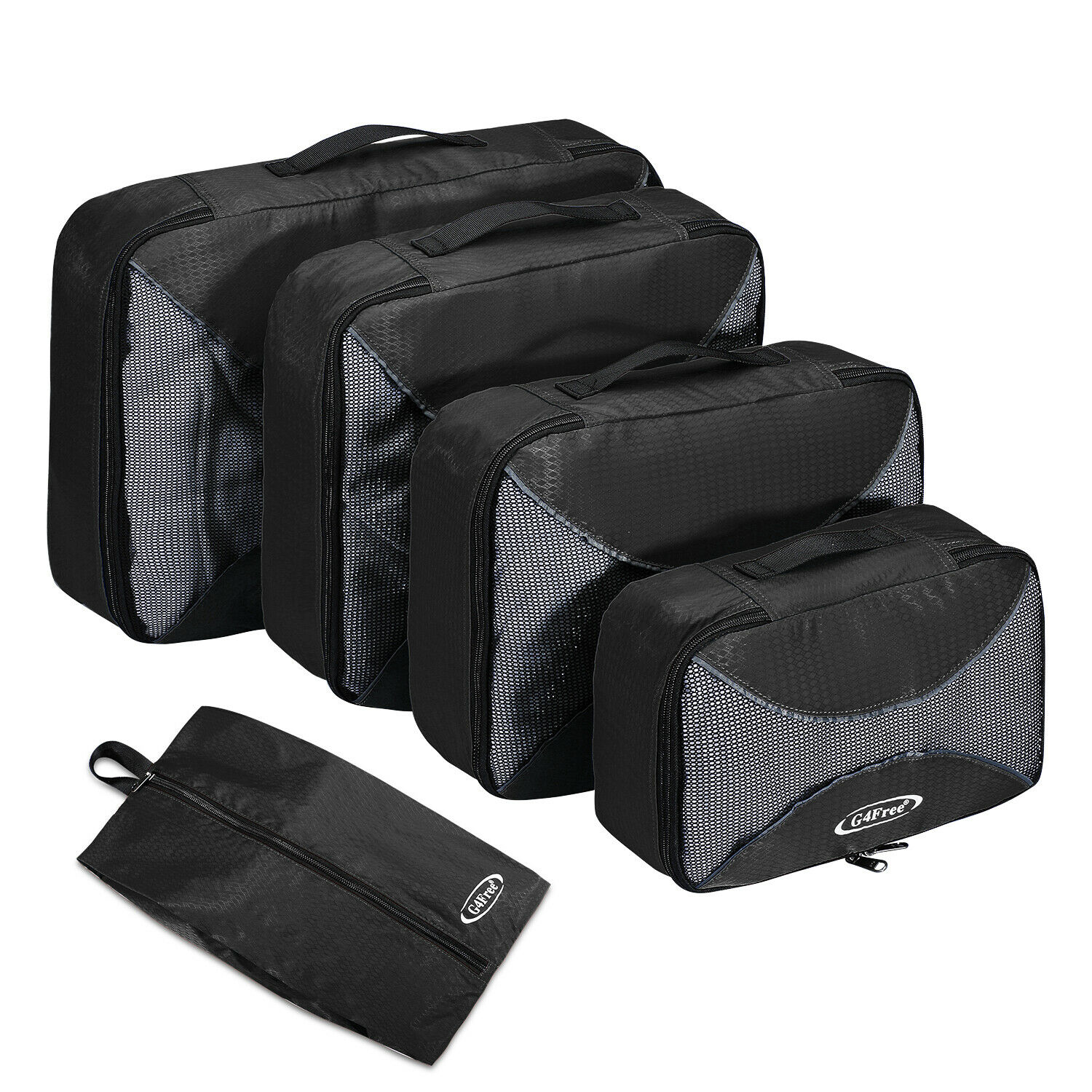 5pcs Packing Cubes Luggage Storage Organiser Travel Compression Suitcase Bag