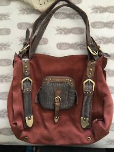 Image Is Loading Cromia Large Rust Colored Suede Southwestern Great
