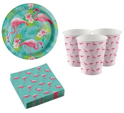 Forte Pink Flamingo Spiaggia Hawaiano Estate Barbeque Festa Tropicale 32pc Set Stoviglie-mostra Il Titolo Originale