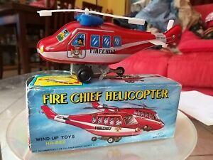 GIOCO IN LATTA FIRE CHIEF HELICOPTER Anni 60 Made in KOREA da collezione NUOVO