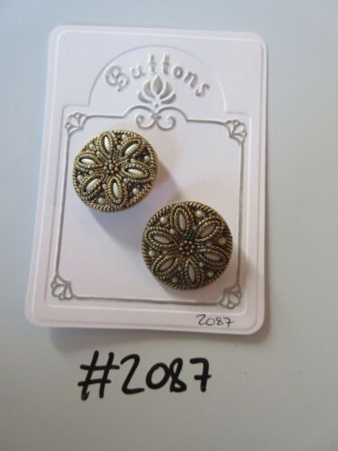 #2087 Lot of 2 Light Grey /& Gold Colour Buttons