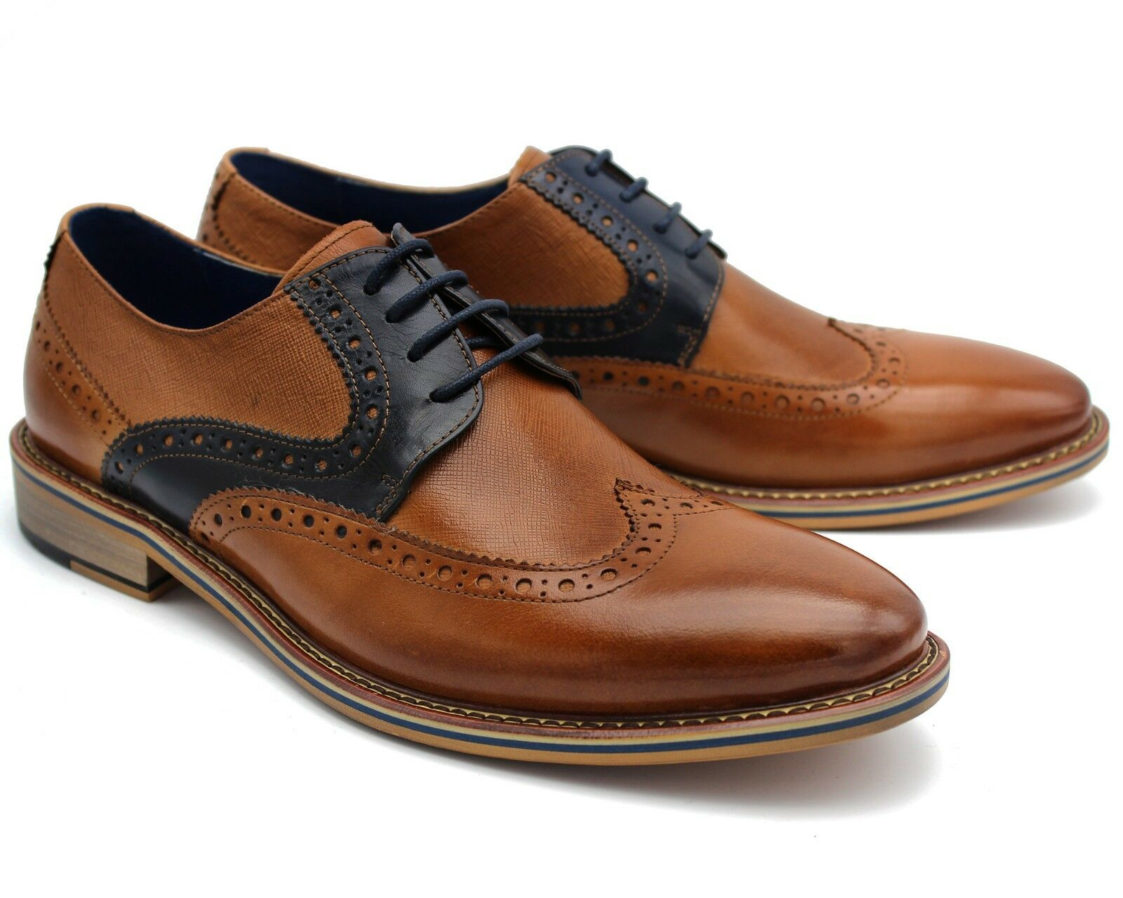 314 UK 8 NEW  Herren BROWN BROGUE Schuhe LACE CASUAL UP REAL LEATHER SMART CASUAL LACE EU 42 96e308