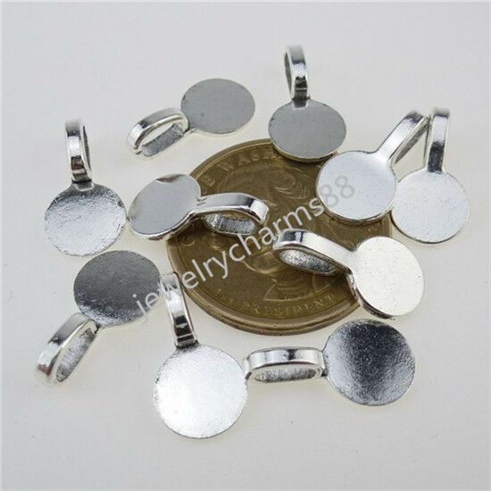 12604 50PCS 10mm Round Glue on Bails Setting Bail FOR Necklace Pendant Loop
