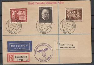 G3377-GERMANY-REICH-MI-863-865-ON-COVER-LAIBACH-CANCELS