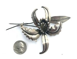 Huge-Vintage-1940s-Mexico-Sterling-Silver-Flower-Brooch-4-1-2-034-Signed-Hecho-ECM