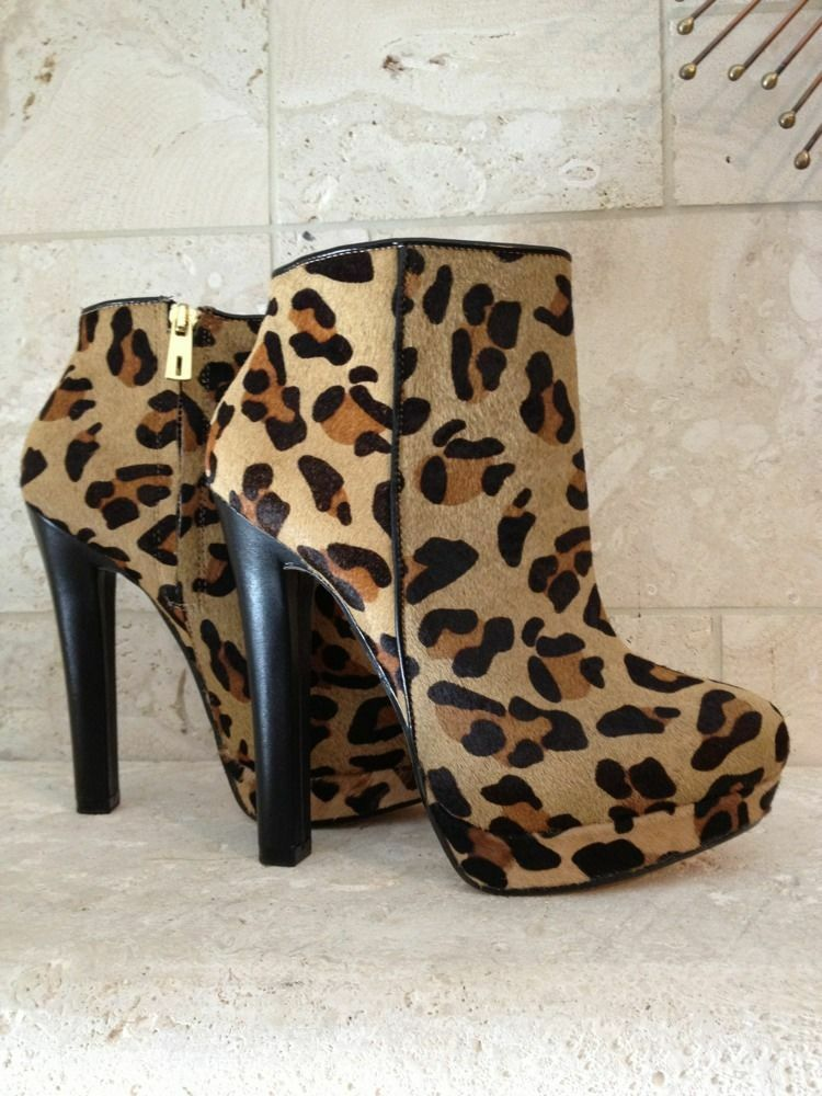 Zara Womens shoes Fur Leather Boots Booties 37 6.5 Designer Leopard Animal Print