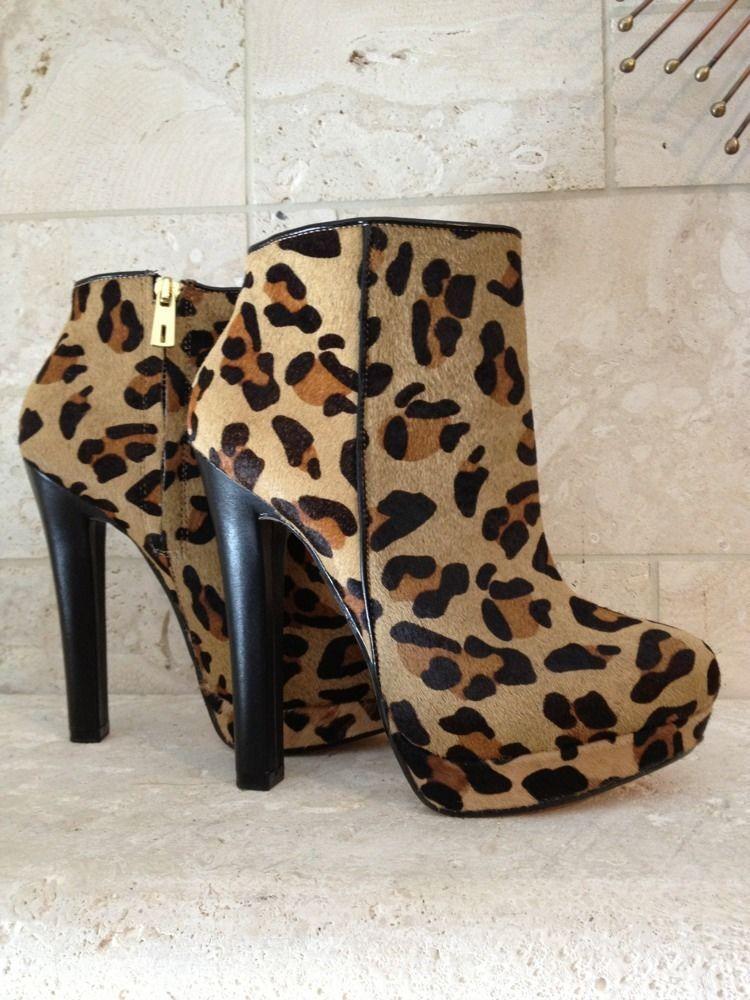 bellissima Zara donna scarpe Fur Leather stivali stivali stivali avvioies 37 6.5 Designer Leopard Animal Print  in vendita scontato del 70%