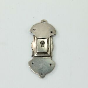 Lock-plate-clasp-antique-Georgian-white-metal-miniature-early-19th-century-9