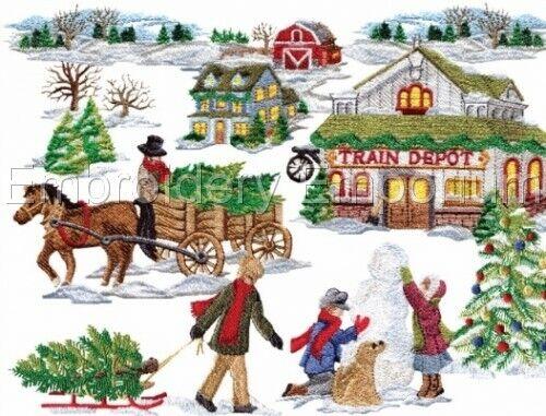Colección de Navidad Aldea-diseños de bordado de la máquina en CD o USB
