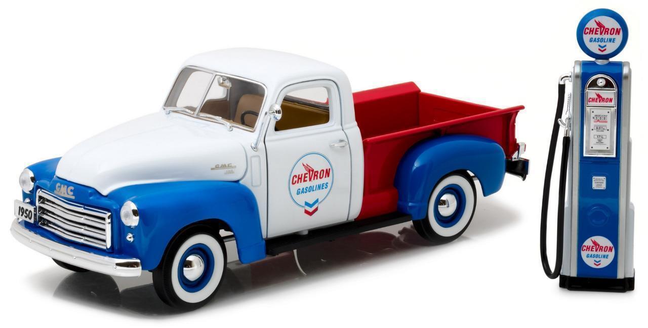 vertlumière  1 18 1950 GMC 150 CHEVRON VINTAGE CHEVRON GAS PUMP DIECAST voiture 12992  remise élevée