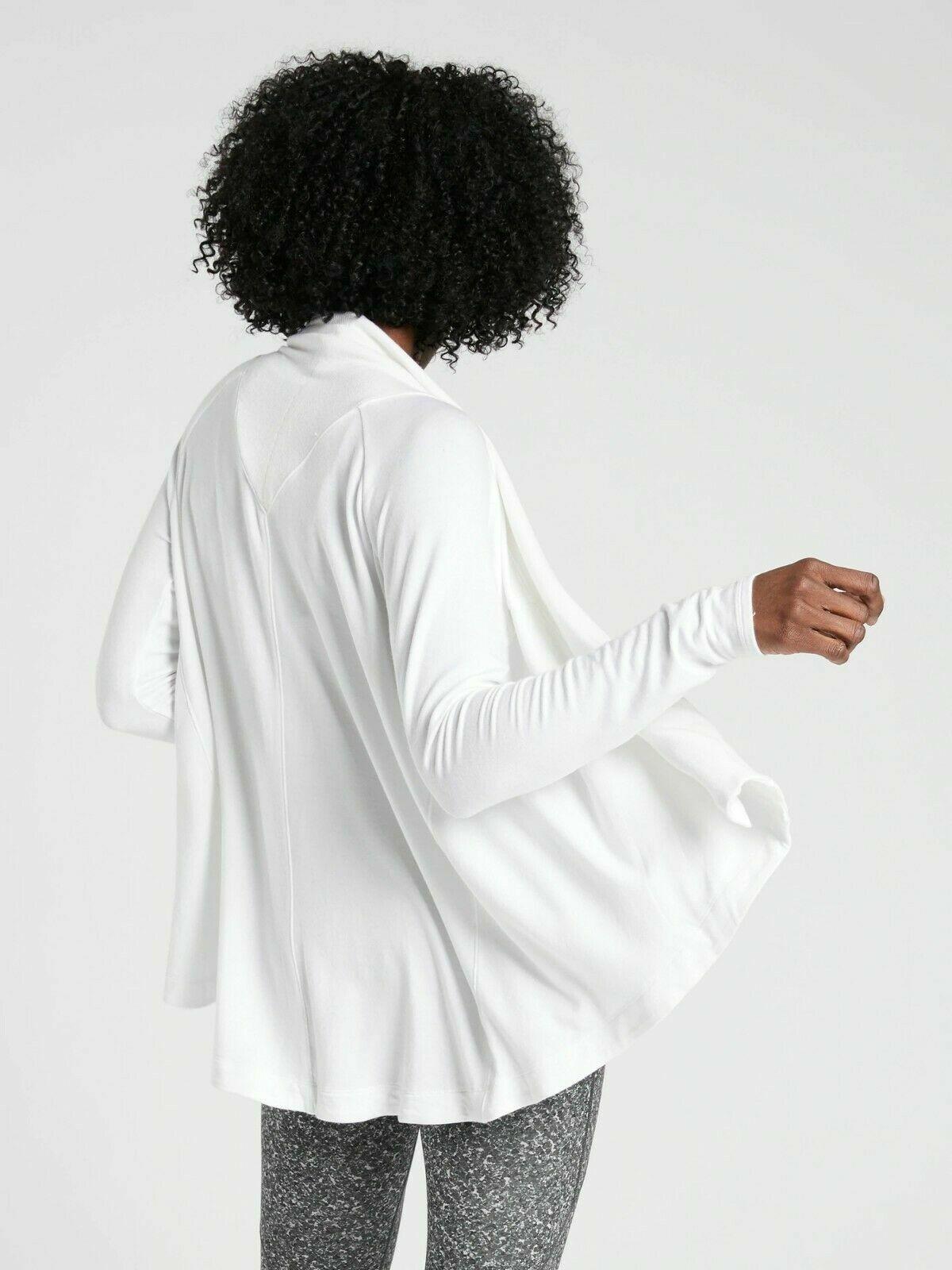NEW Athleta Women Nirvana Wear Two Ways Wrap Soft Cardigan Top White PM