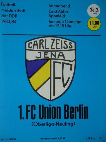 Programm 1983//84 FC Carl Zeiss Jena Union Berlin