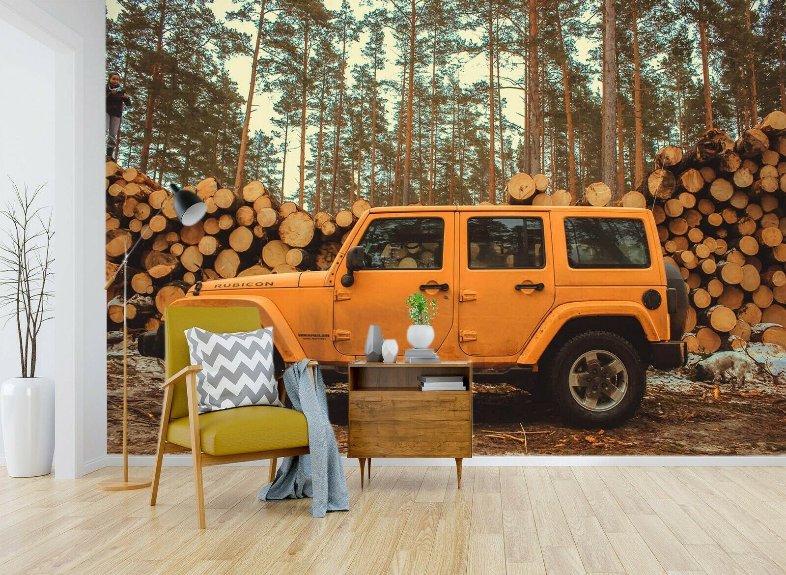 3D Logging Vehicle N892 Transport Wallpaper Mural Self-adhesive Removable Amy