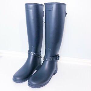 Hunter-Tall-Riding-Rain-Boots-Adjustable-Studded-Matte-Blue-Size-8