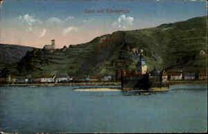 Feldpostkarte-1-Weltkrieg-CAUB-Burg-Rheinpfalz-Rhein-gelaufen-Stempel-Coblenz