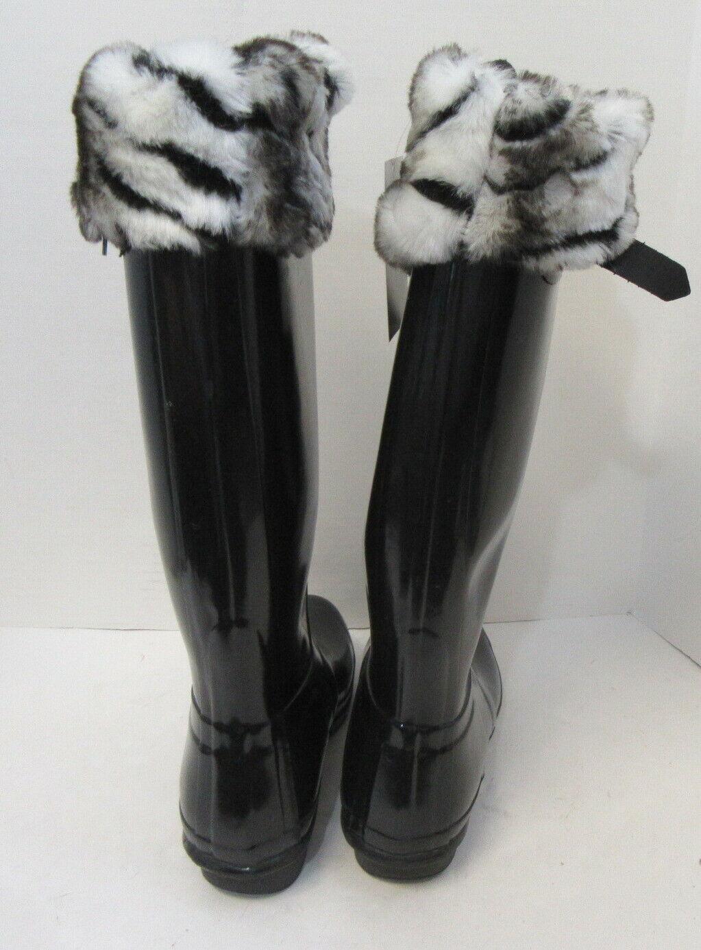 HUNTER Black Tall Rain Boots w/ Fleece Zebra Sock… - image 5