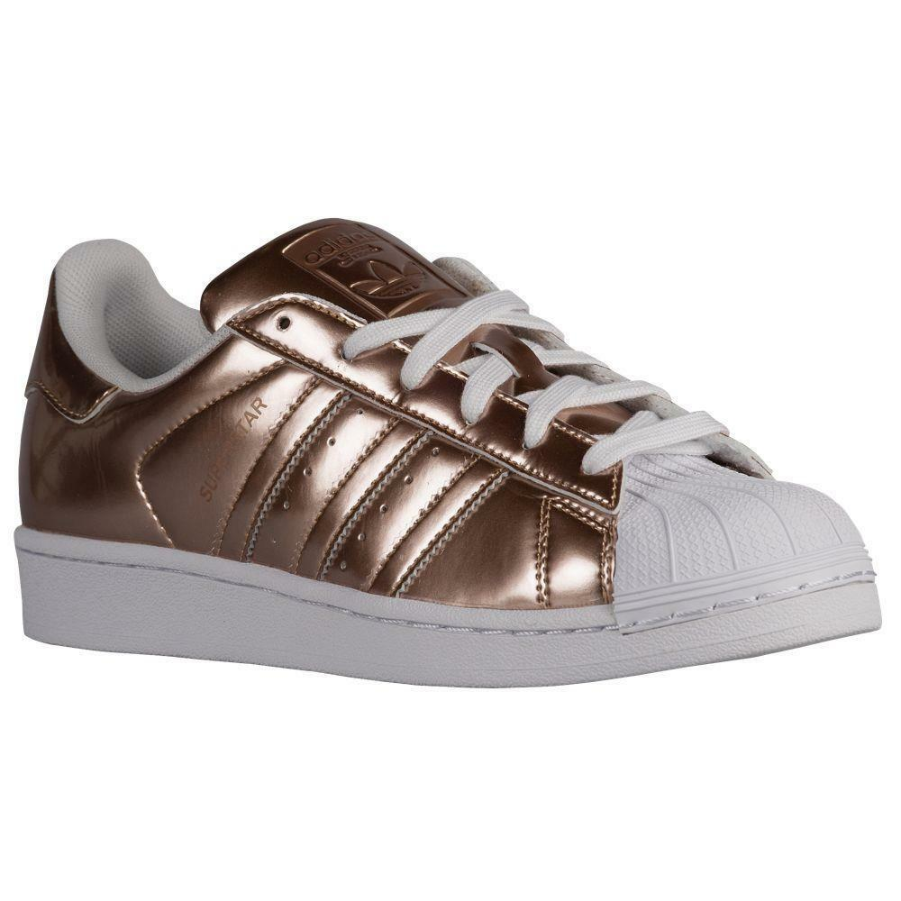 Adidas Rubber Gold Metallic Superstar White Rubber Adidas Cap Womens Shoes Sneakers NWOT DISC 79f326