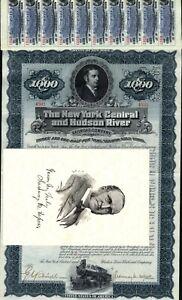 $1,000 New York Central /& Hudson River Railroad Bond Stock Certificate A
