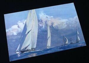 Carte Postale Yachts A Voile De Grande Serie En Course Dessin De Albert Sebille Ebay