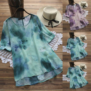 Women-Linen-Floral-Plus-Size-O-Neck-Short-Sleeve-Loose-Tunic-Tops-T-Shirt-Blouse