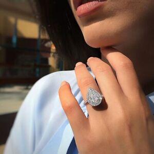925-Silver-Pear-Cut-Women-Fashion-Jewelry-White-Topaz-Wedding-Proposal-Ring-6-10