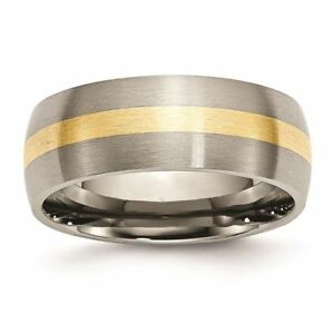 Engagement & Wedding Faithful Titanium 14k Yellow Inlay 8 Mm Brushed Wedding Band Selected Material Jewelry & Watches