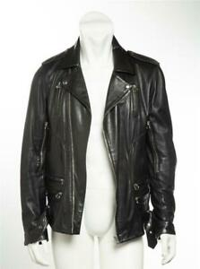 7c805975f Details about BALMAIN Mens Black Lambskin Leather Motorcycle Moto Silver  Zipper Jacket 42-52
