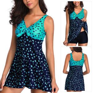 Plus-Size-Women-Two-Piece-Swimdress-Swimsuit-Swimwear-Beachwear-Push-Up-Padded