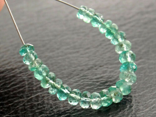 AAA Natural Zambian Emerald Faceted Rondelle Gemstone Beads 2-3mm