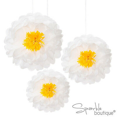 FLOWER POM POMS - Luxury Floral Tissue Hanging Decorations for Wedding or Party