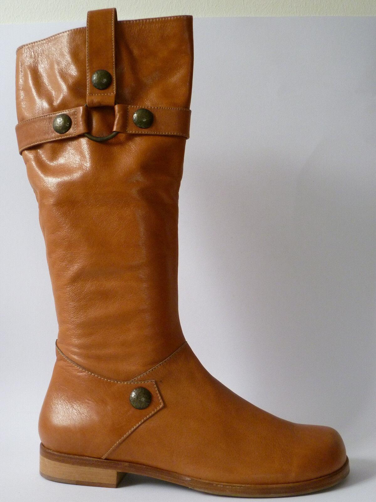 Footprints loano Birkenstock FB 42 botas de cuero marrón estrecho nuevo