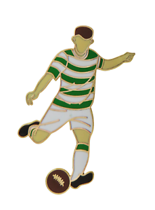 Green & White Hoops Football Player Gold Plated Pin Badge