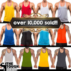 Gym-Singlets-Men-039-s-Tank-Top-for-Bodybuilding-and-Fitness-Stringer-Sports