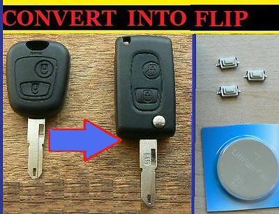 Para Peugeot 107 207 307 407 306 406 Flip Remoto Clave Fob Reparación Flip conversión