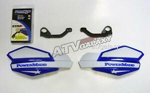 Powermadd-Yamaha-Raptor-700-Star-Handguards-White-Blue-with-Mount-Kit