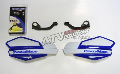 Powermadd Yamaha Raptor 700 Star Handguards White//Blue with Mount Kit