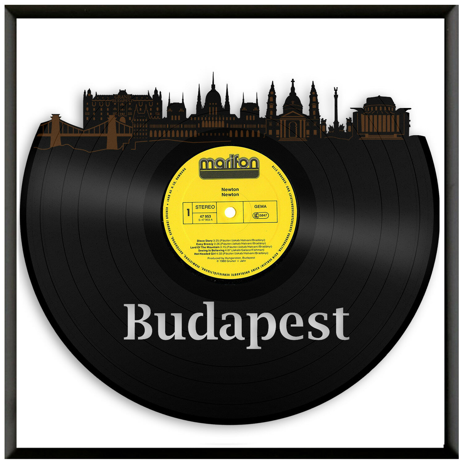 Budapest Vinyl Wall Art Record Cityscape Exclusive Gift Home Decoration Framed