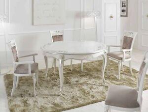 Tavolo Da Soggiorno Con Sedie.Tavolo Da Pranzo Rotondo Allungabile Con Sedie In Legno Bianco E