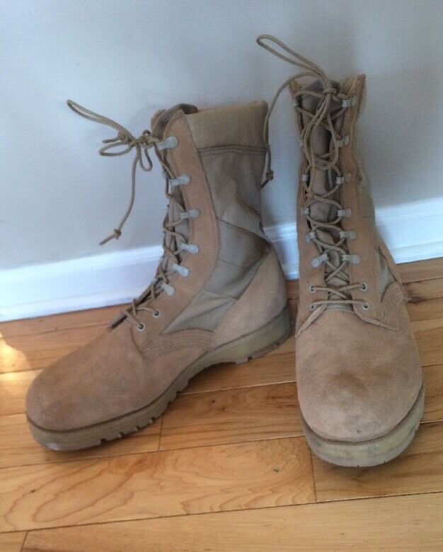 Mens 12.5 XW Military Combat Work Boots Steel Toe Desert Tan Vibram Sole