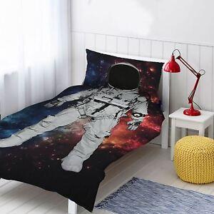 Astronaute-Imprime-Set-Housse-de-Couette-Simple-Coton-Espace-Voyage-Enfants