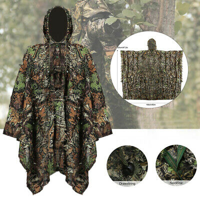 3D Leafy Leaves Clothing Jungle Tactical Military Woodland Hunting Poncho Cloak