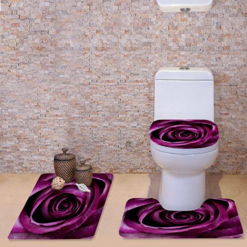 Floral Bathroom Rug Set Toilet Seat Cover Washable Soft Contour Bath Mat Carpet